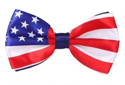 Mens Pre Tied American Flag Stars Stripes Uncle Sam Party Fancy dress Bow ties